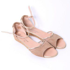 Eric Michael Leather Tan/Gold Sandals Size 9.5